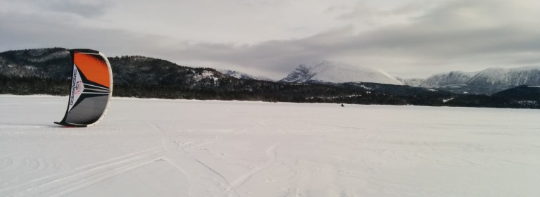 Snowkiting on Rocky Harbour Pond